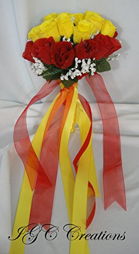 IGC Wedding Bridal Floral Flower Bouquet - Silk Rose Flowers Bouquets With Raindrops And Organza/Satin and/or Grosgrain Ribbon - Yellow and Red - Flower Wedding Organza Rose