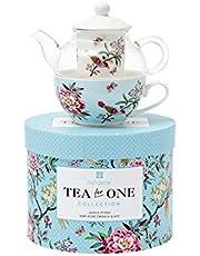 Jardin Peony Tea for One Bone China Glass Teapot Gift Boxed