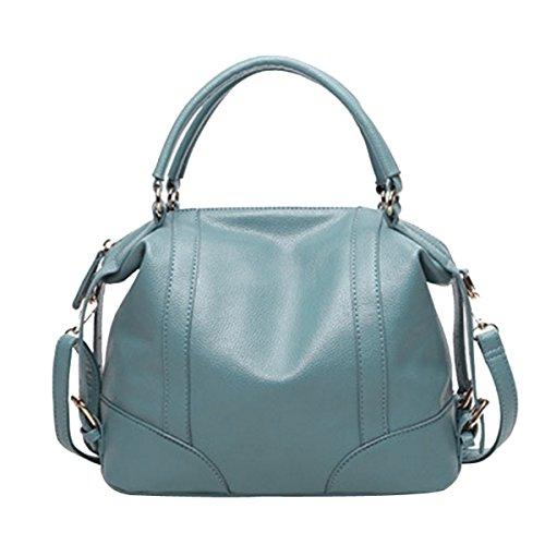 Señoras Moda Tendencia Del Temperamento Bolso Bolso Color Sólido Bolso Azul