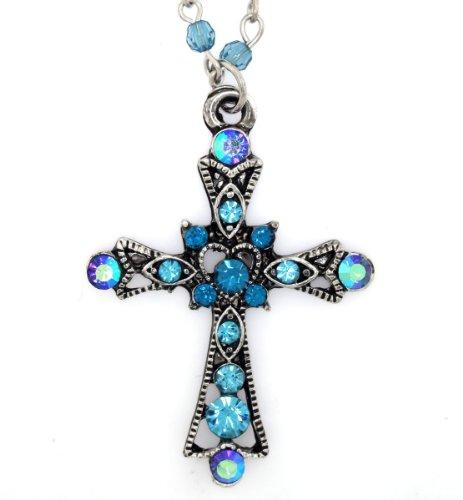- Mevoi Aqua Blue Mini Glass Beads & Rhinestones Heart of Antique Faith Cross Pendant Necklace