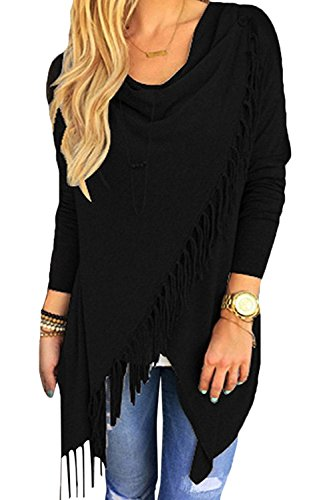 Initial Casual Shawl For Women Tassel Hem Blouse Black Poncho Shirt Long Sleeve Poncho Coat, Black, US (Cotton Long Sleeve Wrap)