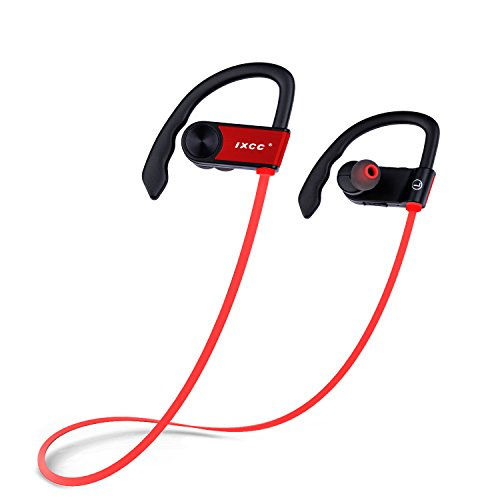 Bluetooth Headphones, iXCC Bluetooth 4.0 Wireless Stereo Headset In-ear Noise Cancelling Sweatproof Sport Earbuds with Mic for Smartphones - Red