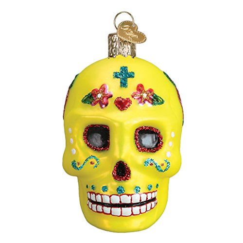 Old World Christmas Glass Blown Ornament with S-Hook and Gift Box, Halloween Collection (Sugar Skull)]()