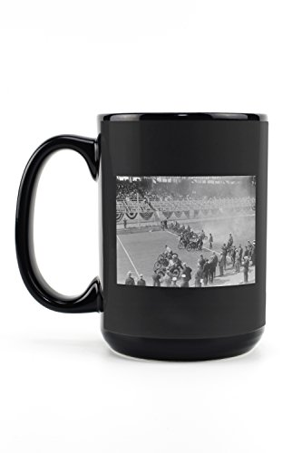 Police Show -- Start of Motorcycle Race Photograph (15oz Black Ceramic Mug - Dishwasher and Microwave Safe)