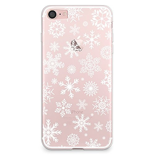 casesbylorraine iphone 8 case iphone 7 case christmas snowflakes clear transparent case xmas holiday flexible tpu soft gel protective cover for apple