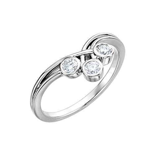 14k White Gold 3mm Round Three-Stone Ring Mounting - Size (3 Stone Diamond Ring Mounting)