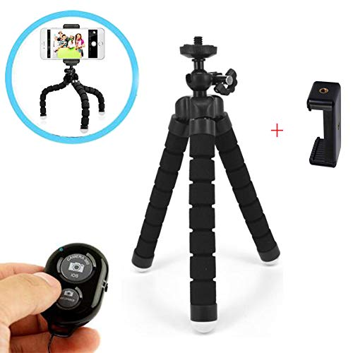 Walway Portable Mini Sponge Octopus Tripod Stand with Phone Clip Bluetooth Shutter Remote for Smartphones GoPro Cameras
