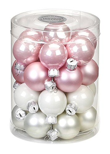 Inge-Glas 15186D001 MO- Ball Noble Pink-Mix, 30 MM Pack of 28 Gloss Silver/matt White/Porcelain ()