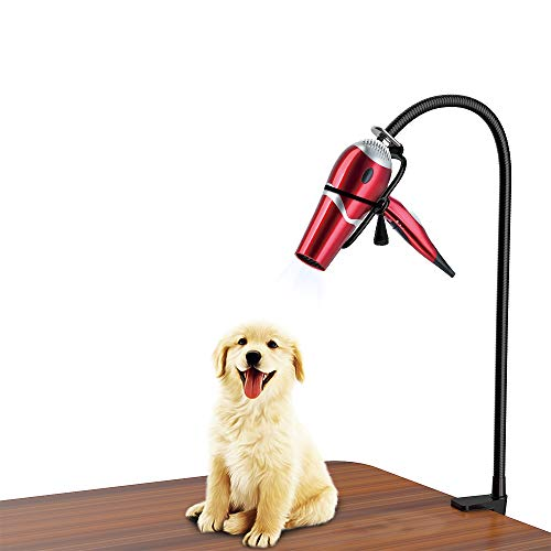 Professional Grooming Pet (LuckIn Dryer Stand Hands Free, Stainless Steel Heavy Duty Table Blow Dryer Holder 360 Degrees Rotation with Adjustable Clamp, Third Arm for Hair Styling, Pet Grooming)