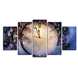 Nnngt Modern On The Wall Art Frame Modular Pictures 5 Panel Clock for Living Room Home Decoration Abstract Painting On Canvas-30Cmx40/60/80Cm
