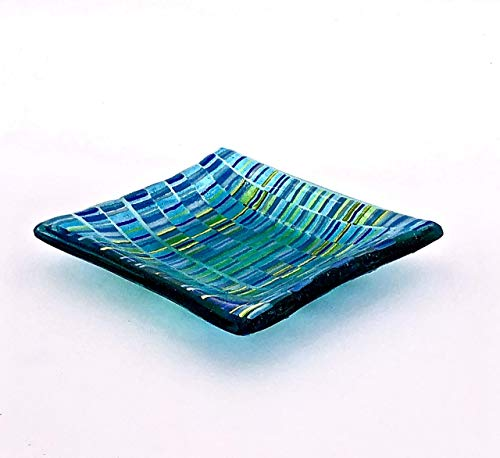 Handcrafted 4 Inch Fused Glass Aquamarine Decorative Bowl With Turquoise Blue and Lime Green