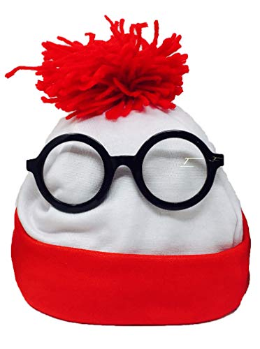 Winter Beanie Hat with Nerd Glasses – Knitted Fabric Red and White Where's Waldo Inspired Holiday and Theme Costume Props Sets | Officially Licensed Product Unisex Accessories | 100% Made of Blend Polyester-Cotton -