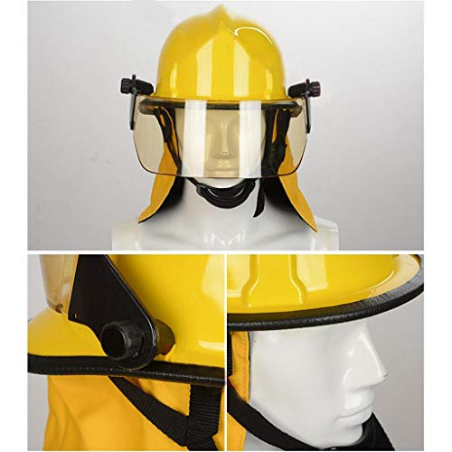 Hard Hat Fire Safety Helmet, Firemen Protection Hard Hat Rescue Site Safety Helmet, Flame Retardant High Temperature Resistance Mask by Moolo (Image #4)