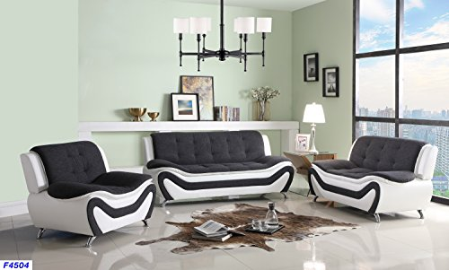 Beverly Fine Furniture F4504-3pc Three Piece Sofa Set, Grey-Black-White