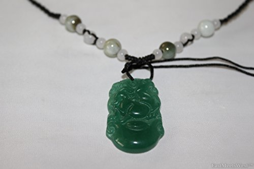 Natural Green Jade Stone Hand Carved Lucky Pendant Charm Horse Zodiac Feng Shui Lucky Amulet