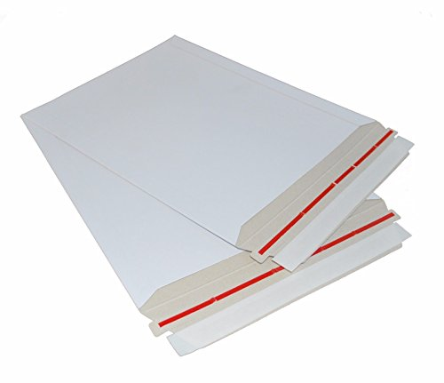 25 Pack Rigid 12.5 x 15 Paperboard mailer. Stay flat envelopes. White photography mailer. Large size. No bend documents, photo, prints. Peel and Seal & Self sealing. Redi Strip.