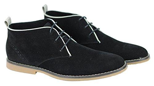 Mens Classic Faux Suede Leather Desert Chukka Retro Lace up Boots Black pR9x3w