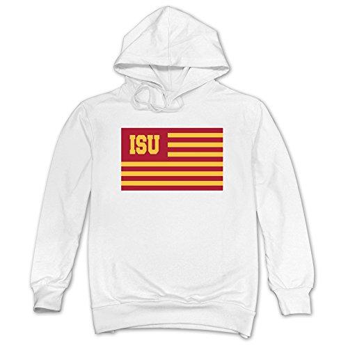 - Men Iowa State Cyclones Flag Hoodie White 100% Cotton