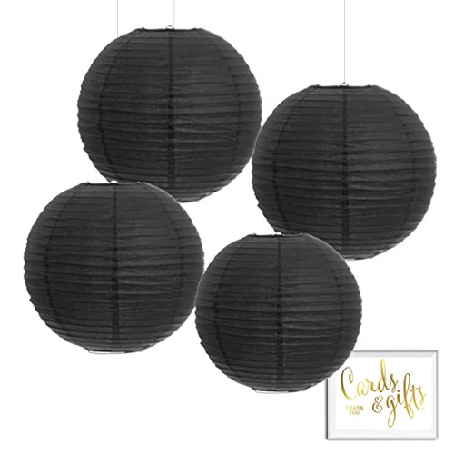 Andaz Press Hanging Paper Lantern Party Decor Kit with Free Party Sign, Black, 4-Pack, Modern Wedding Anniversary Bridal Shower Halloween Classroom Colored Event -