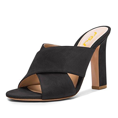 FSJ Women Casual Faux Suede Mules Open Toe Platform Sandals Chunky Heel Comfort Shoes Size 4-15 US Black-12 Cm