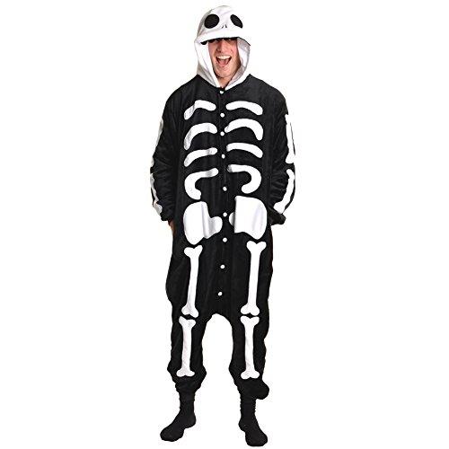 Unisex Plush Animal Hooded Onesies Pajamas #91158_SKULL_XS (Elephant Onesies For Adults)