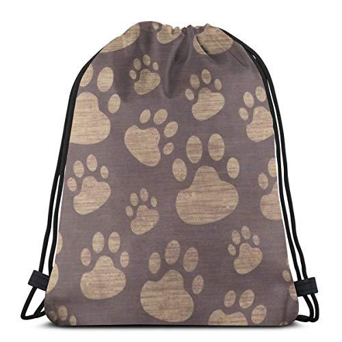 Mefond Drawstring Backpack Bag,Cinch Sack,Gym Sack,for Girls Or Men Shopping,Sport,Gym,Yoga,School,Dog Footprint and Hand]()