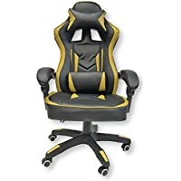 ViscoLogic Series Saloon Gaming Racing Style Swivel Office Chair (Black Gold)
