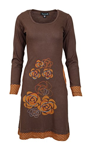 Vestido Manga larga con la flor del bordado y bolsillo lateral-CHOCOLATE FLOWER�?Marrón
