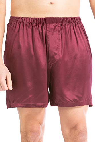 Fishers Finery Men's 100% Pure Mulberry Silk Boxers (Red, S)