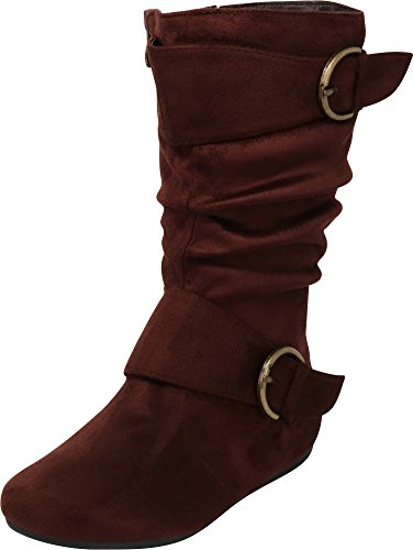 Cambridge Select Girls' Closed Round Toe Slouch Double Buckle Inner Zip Flat Mid-Calf Boot (Toddler/Little Kid/Big Kid),3 M US Little Kid,Brown -