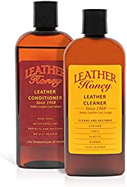 Leather Honey Complete Leather Care Kit Including 8 oz Cleaner and 8 oz Conditioner for use on Leather Apparel