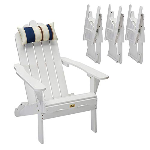 Set of 4 White Folding Adirondack Chair Outdoor Wood Deck Chair Patio, Lawn & Garden Seating Lounge Chair with Head Pillow