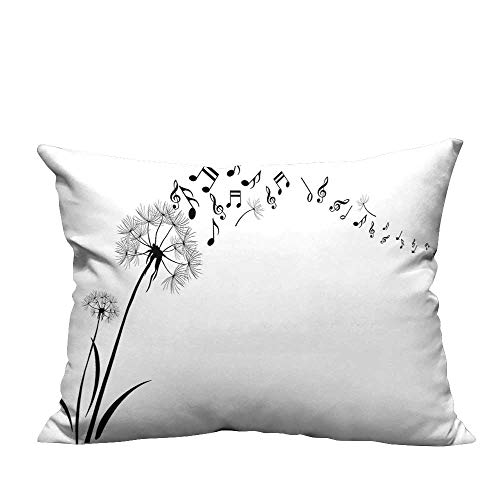 YouXianHome Sofa Waist Cushion Cover Flying Dandelions with Note Music Summer Meadow Silhouette Softness Simple Decorative for Kids Adults(Double-Sided Printing) 13x17.5 inch