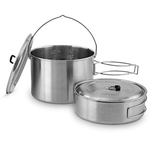 Stainless Steel Campfire - Solo Stove 2 Pot Set: Stainless Steel Companion Pot Set Campfire. Great for Backpacking, Camping, Survival