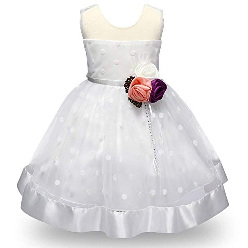 MOREMOO Flower Girls Mesh Top Vintage Polka Dot Tulle Party Pageant Dress(White 3-4 Years)