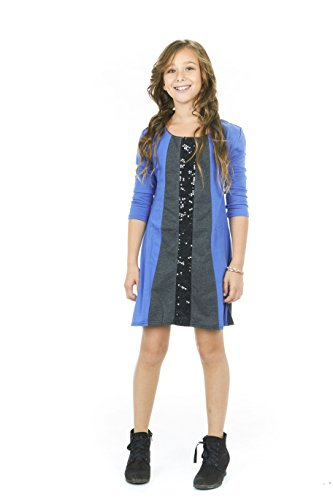 S.W.A.K Girls Long sleeves Colorblock with Sequins Dress Royal Size 10 12 (Cheap Fancy Dress Outfits)