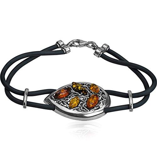 Noda Bague Ambre multicolore argent sterling Marquise en caoutchouc bracelet cordon 19,5cm