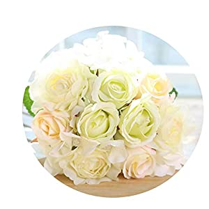 12Pcs Artificial Rose Bouquet Decorative Silk Flowers Bride Bouquets for Wedding Home Party Decoration Wedding Supplies 12pcs Beige 1