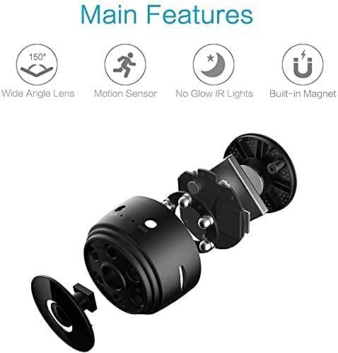 Mini Camera WiFi Wireless Portable Camera Nanny cam, 2K high Home Security Camera, with Safe Motion Detection Alarm Function, Infrared Night Vision, Built-in Battery Mobile app Real-time View