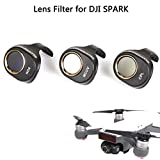 Joint Victory 3 Pack Camera Lens Filter HD Clear Waterproof ND8 MCUV CPL Filters Kit ND Dimmer for DJI SPARK Won't Affect Gimbal Calibration (ND8+CPL+MCUV)