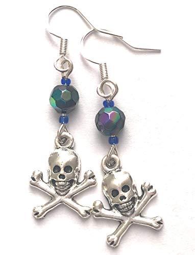 Skull and Crossbones Charm Blue Bead Drop Dangle Earrings