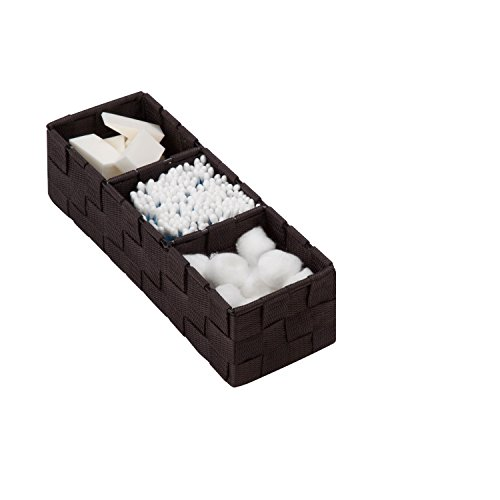 Honey-Can-Do OFC-03712 Three Section Woven Drawer Organizer, 11.75 by 3.9 by 3-Inch, Espresso Brown - 3 Piece Honey Finish
