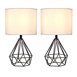 "SOTTAE Golden Hollowed Out Base Modern Lamp Bedroom Livingroom Beside Table Lamp, 16"" Desk Lamp with White Fabric Shade(Set of 2)"