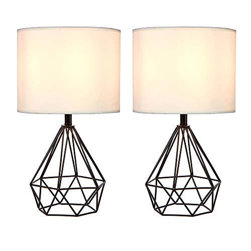SOTTAE Black Hollowed Out Base Modern Lamp Bedroom Livingroom Beside Geometric Table Lamp, 16