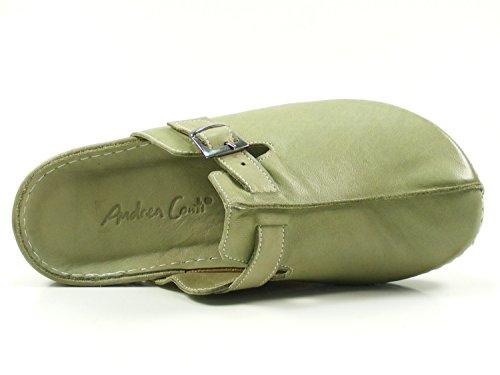 Andrea Conti Damen Clogs 0021541 Leder Pantoletten Grün