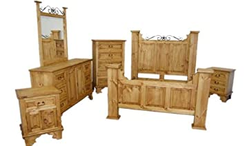 King Size Hacienda Bedroom Set, Western Rustic