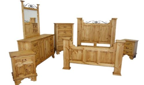 Amazon.com: King Size Hacienda Bedroom Set, Western Rustic: Kitchen U0026 Dining