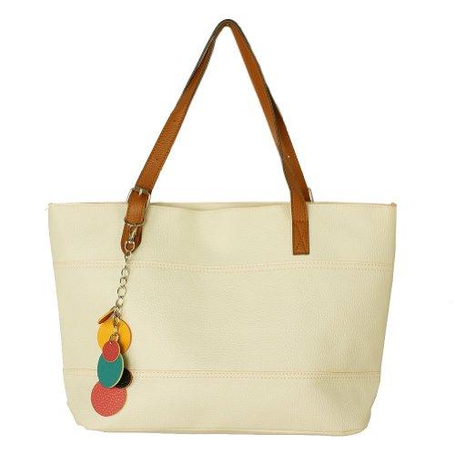 Retro Fashion Women's Tote PU Leather Shoulder Bag Handbag Shopper (Candy Color/White) (Pocketbooks Under 10)