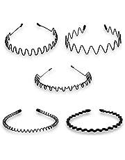 Timoo 5 PCS Metal Spring Wavy Hairband Hair Hoop, Simple Fashionable Headband Headwear Accessories for Men, Women, Black