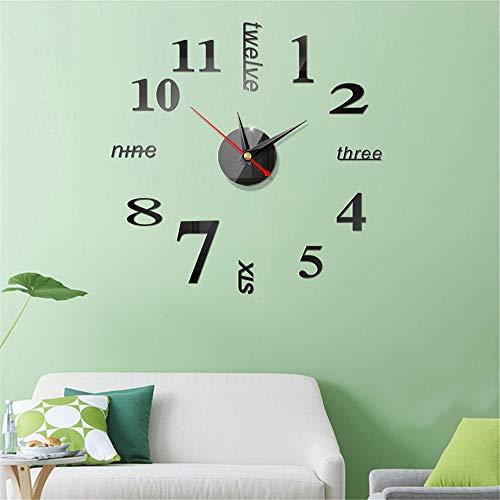 Fashion 3D Wall Clock Modern DIY Design self-Adjusting Wall Clock Metal Acrylic Sticker Mirror Decal